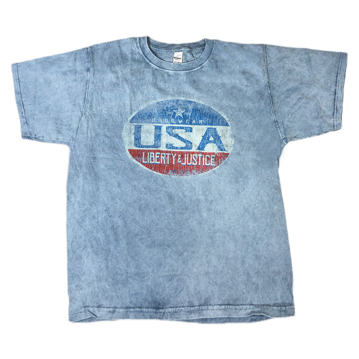 Adult Short Sleeve Crew USA Liberty & Justice, Indigo Cobblestone