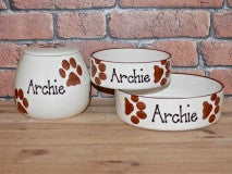 Pawprints Treat Jar and Bowl Set