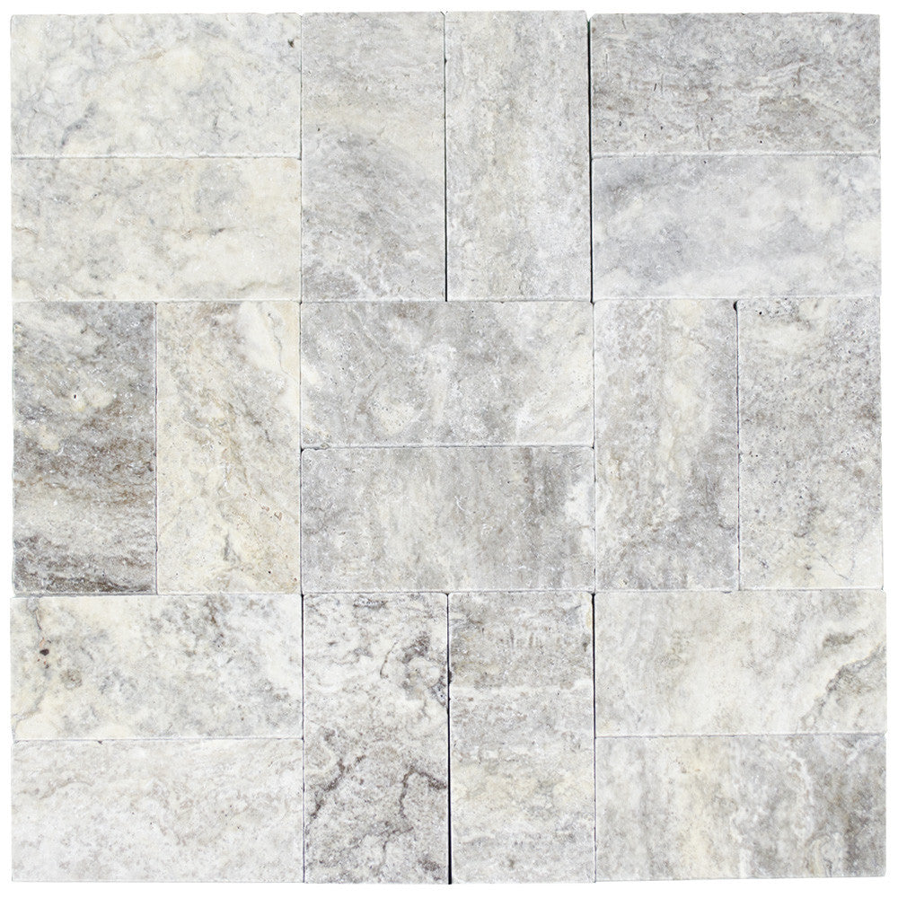 Silver Tumbled Travertine Pavers 6x12