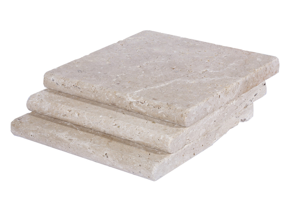 Ivory Bullnose Travertine Pool Copings 12x12
