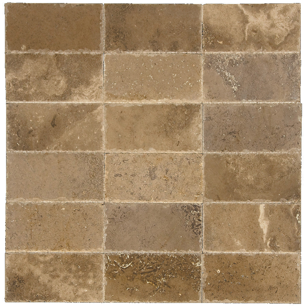 Noce Honed Chiseled Travertine Pavers 6x12