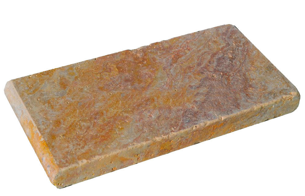 Peach Blend Bullnose Travertine Pool Copings 6x12