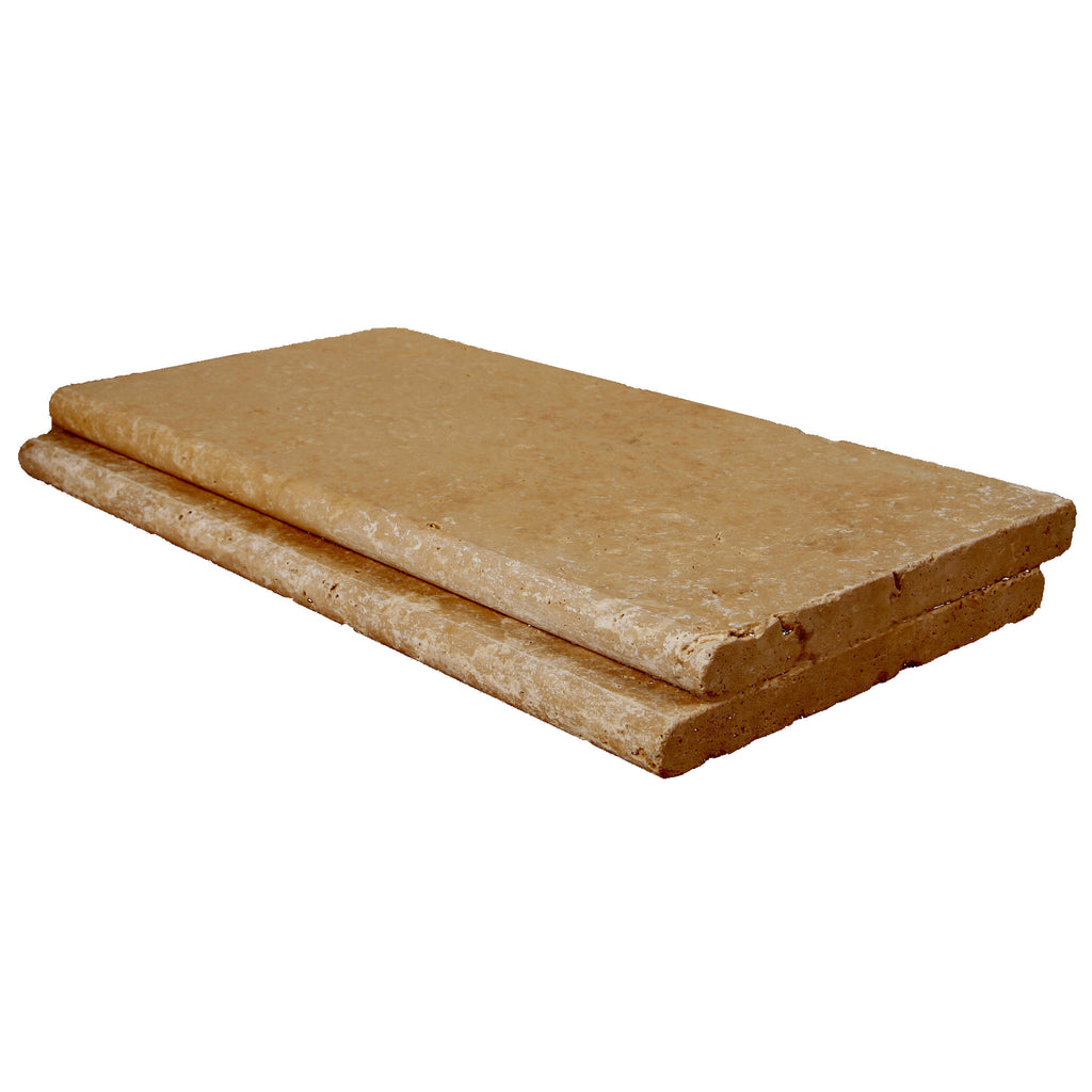 Roman Blend Bullnose Travertine Pool Copings 12x24