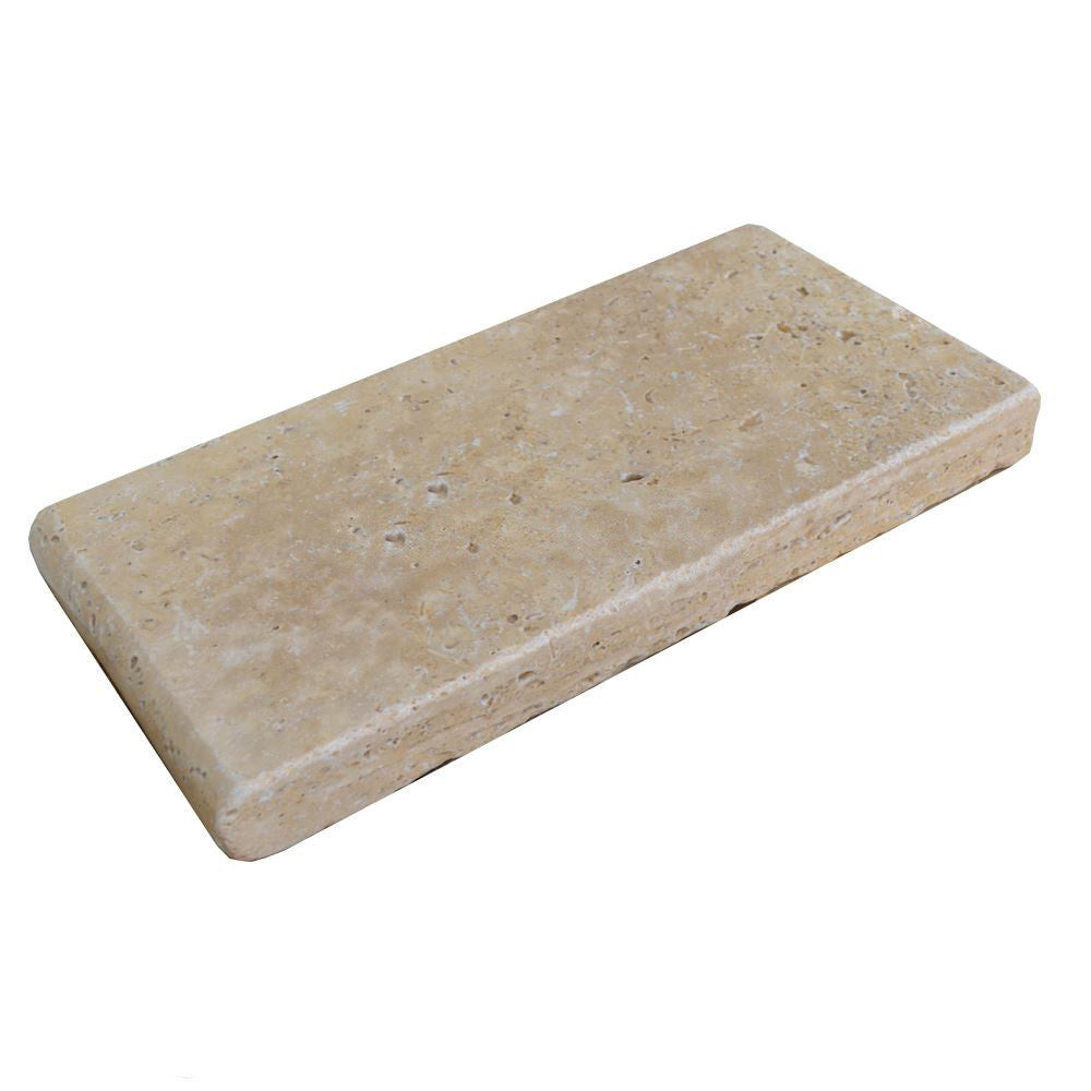 Roman Blend Bullnose Travertine Pool Copings 6x12