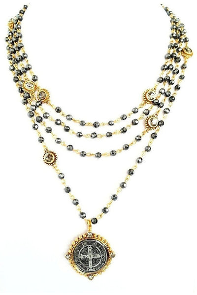 VSA Designs Necklace Exclusive San Benito Magdalena - Gold/Black Diamond