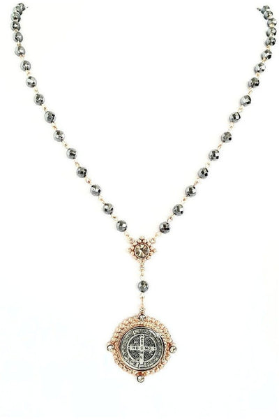 VSA Designs Necklace Exclusive Luxe San Benito Rosary Rose Gold