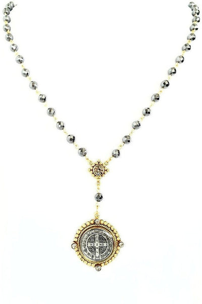 VSA Designs Necklace Exclusive Luxe San Benito Rosary Gold/Black Diamond