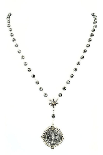 VSA Designs Necklace Exclusive Luxe San Benito Rosary Silver/Black Diamond