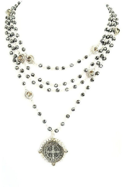 VSA Designs Necklace Exclusive Luxe San Benito Magdalena Silver/Black Diamond