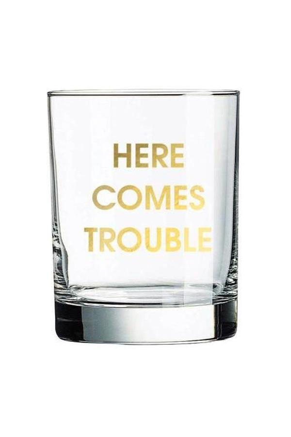 Light Goldenrod Yellow Chez Gagne Here Comes Trouble Rocks Glass