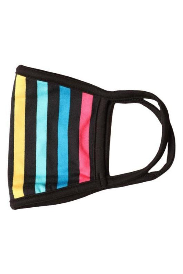 Pale Violet Red Fashion Face Mask Black with Rainbow Stripes