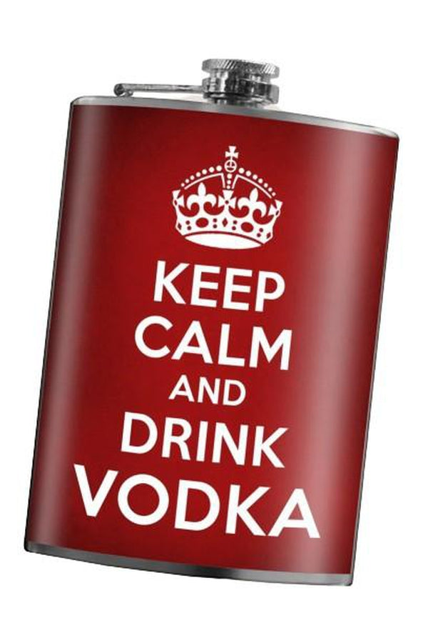 Brown Trixie & Milo Keep Calm and Drink Vodka Hip Flask
