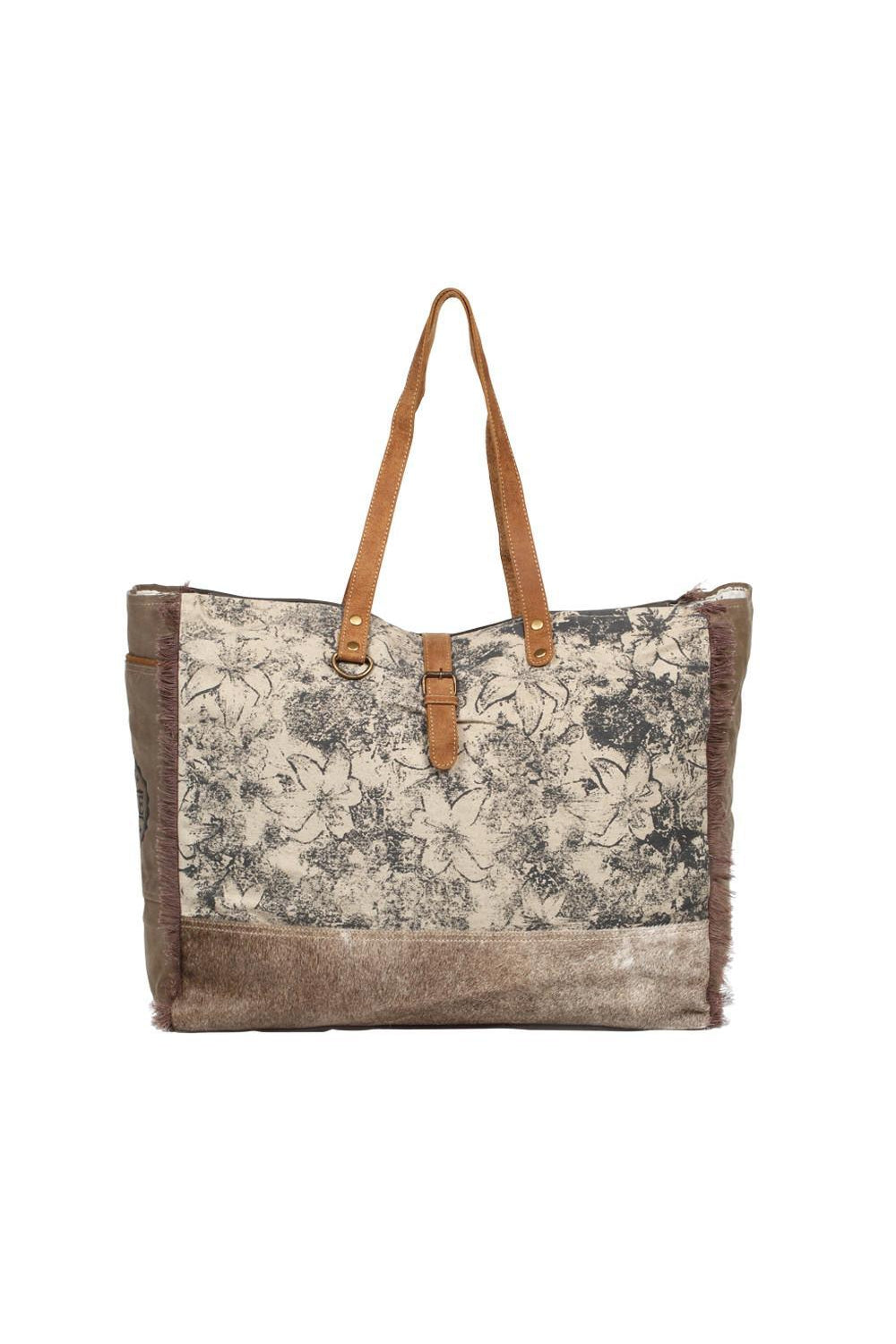 Rosy Brown Flower Art Canvas Large Tote Bag
