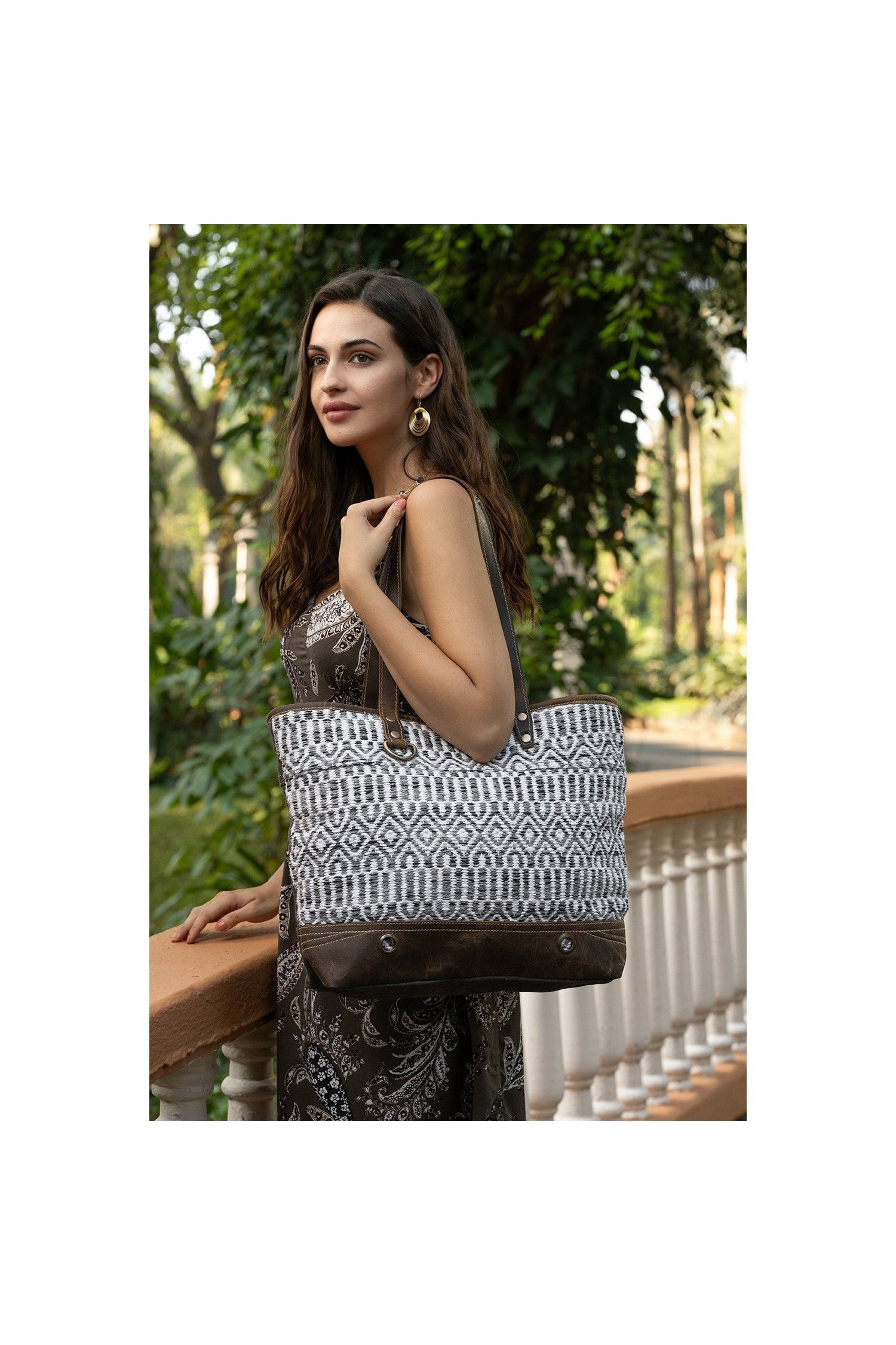 White Phaedra Weave + Leather Oversize Tote Bag