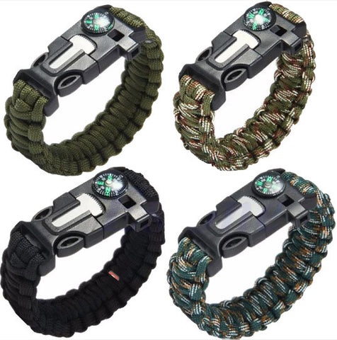 5 in 1 Paracord Survival Bracelet, Whistle, Flint Fire Starter, Scraper, Compass