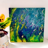 """Inferno In Jade"" - Hand-painted, Acrylic on 11.5""x 11.5"" Inch Box-Framed Canvas."