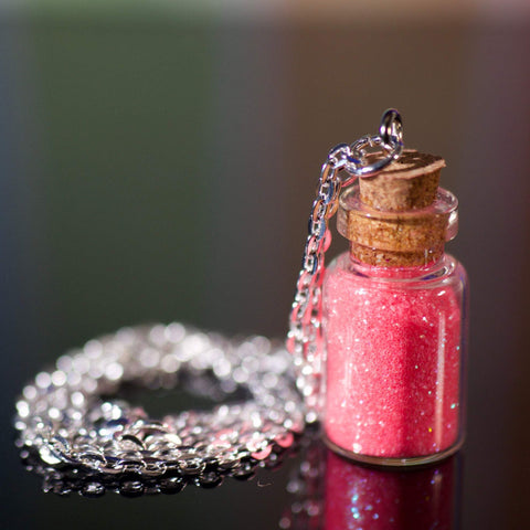 Glitter Bottle Necklace - Bubble Gum Pink