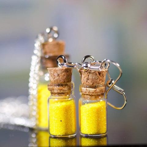 Glitter Bottle Necklace & Earrings - Sunshine Yellow
