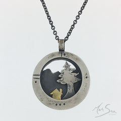 Home is Where The Heart Is a tiny cabin in the woods Pendant by Merina Paton of MerSea Studio