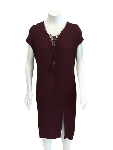 Cynthia Vincent Burgundy Lace up Front dress