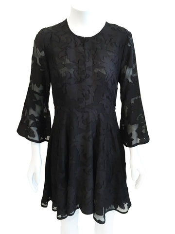 Cynthia Vincent Sheer Patterned Floral Dress