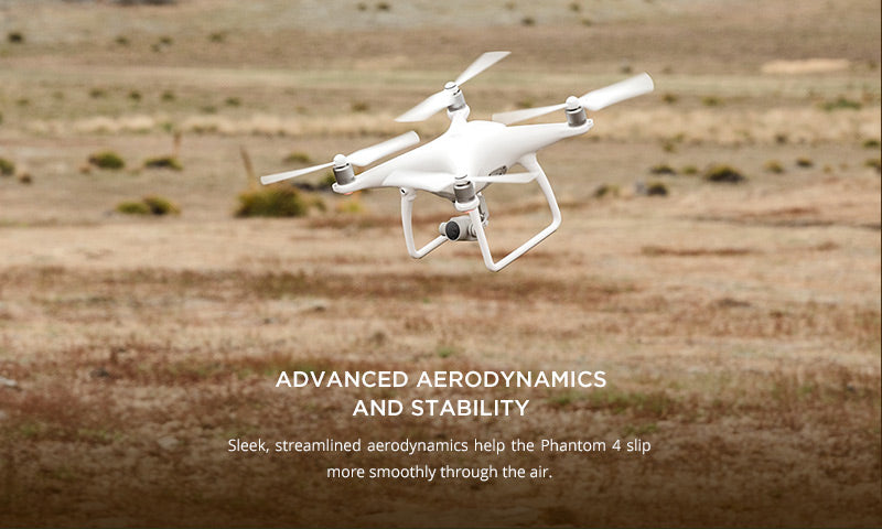 DJI Phantom 4 with advanced aerodynamics and stability