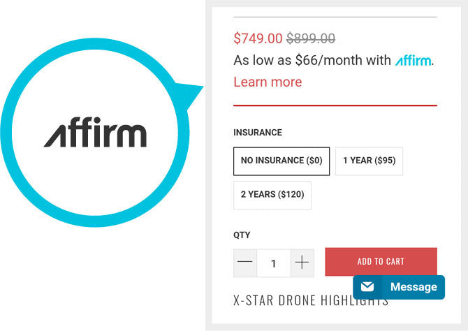 How to use Our Drone Financing at Checkout