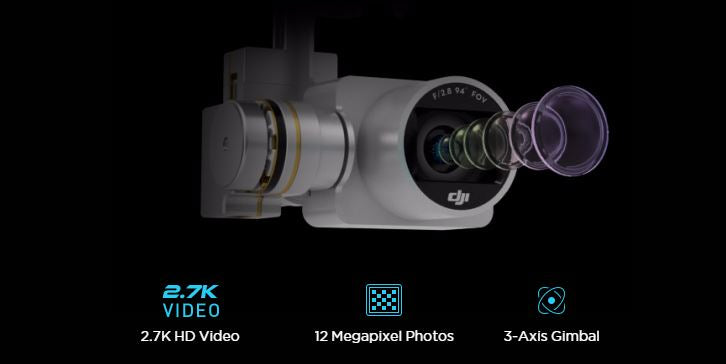 2.7K video, 12 Megapixel Photos, 3-axis gimbal
