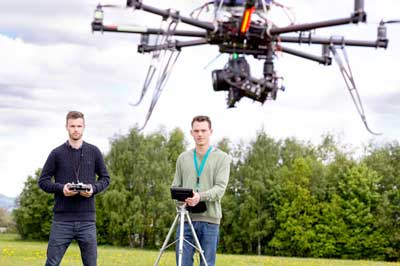 Professional Drone Pilots flying a UAV