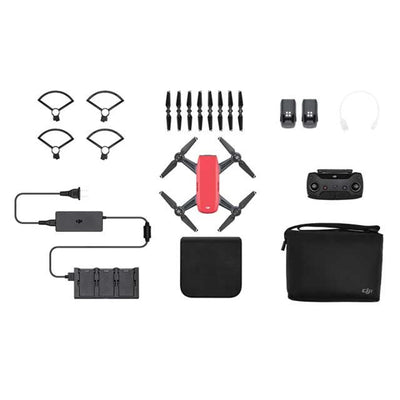 DJI Spark Drone -Fly More Combo With Remote & Accessories - Lava Red - Bundle