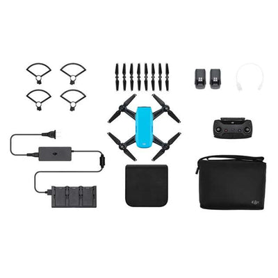 DJI Spark Drone -Fly More Combo With Remote & Accessories - Sky Blue - Bundle