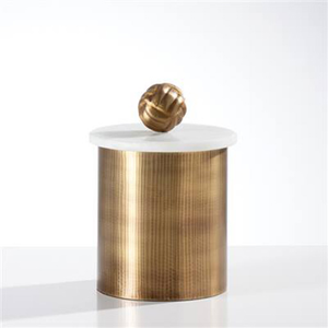 Tomar Antique Brass Ribbed Canister - Medium