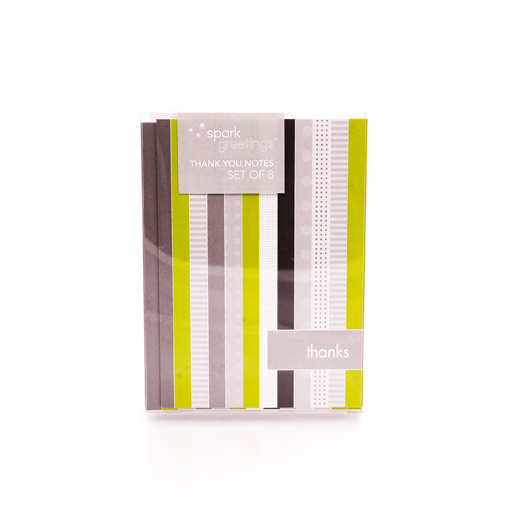 Field Stripe Notecard Green n Grey