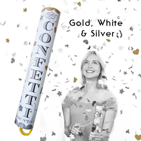 Confetti Fountain - Gold, White and SIlver