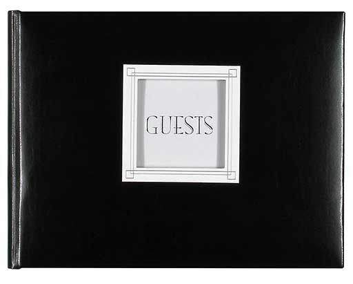 Customizable Guest Book Black Leather