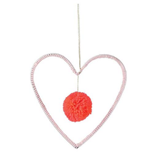 Load image into Gallery viewer, Wire & Wool Heart Decoration