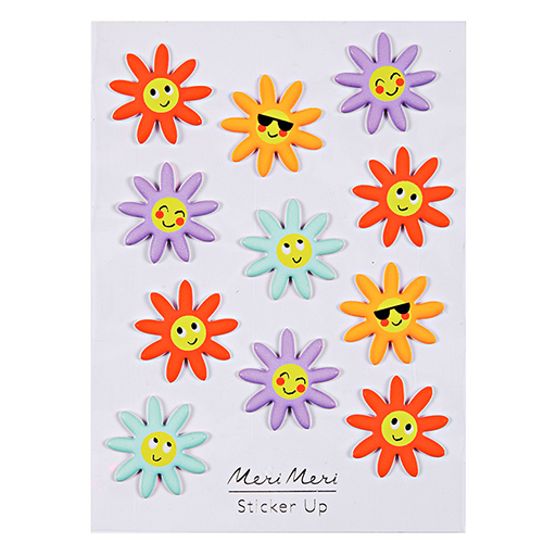 Happy Flower Puffy Stickers