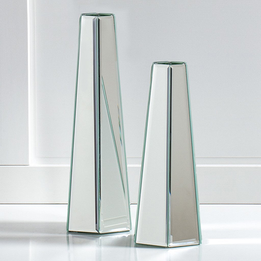 Hexagon Tower Mirror Panel Vase