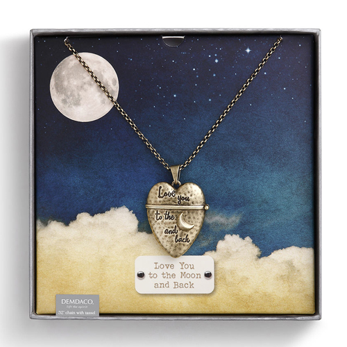 Moon and Back Story Heart Pendant