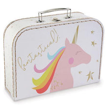 Load image into Gallery viewer, Gold Foil Unicorn Nested Suitcase Set