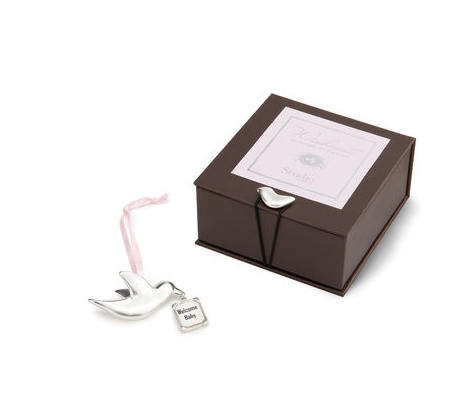Welcome Bird with Pink Ribbon in Keepsake Box