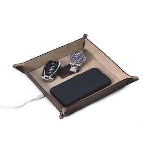 Brown Leather Valet with Wireless Charging Pad