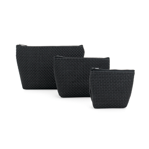 Cosmetic Pouch Black-Set of 3