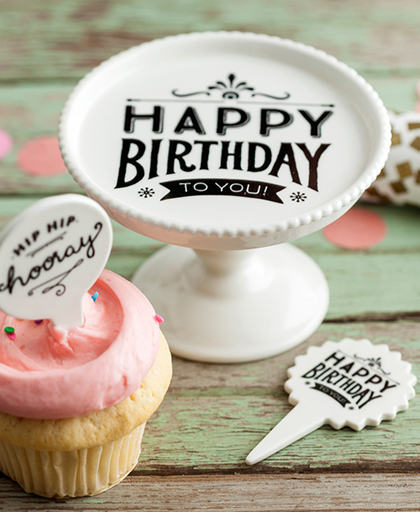 Petite Party Happy Birthday Mini Pedestal & Dessert Pick