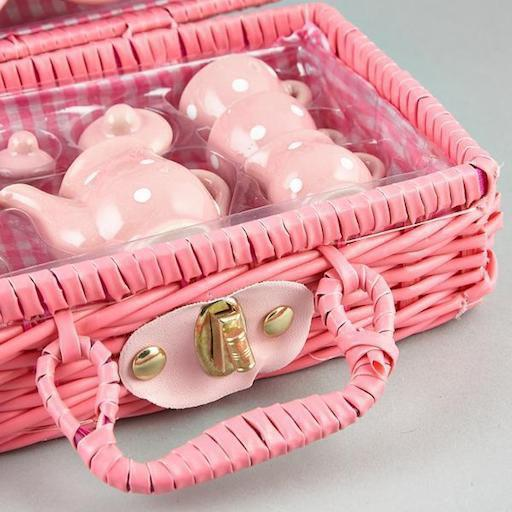 Think Pink Spotty 17-piece Mini Ceramic Tea Set in Basket