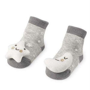 Gray Moon and Star Rattle Toe Socks