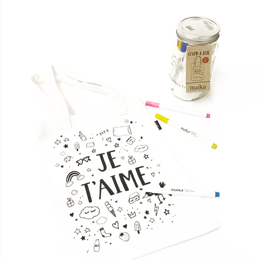 Color Your Own Tote Kit, Je T'aime