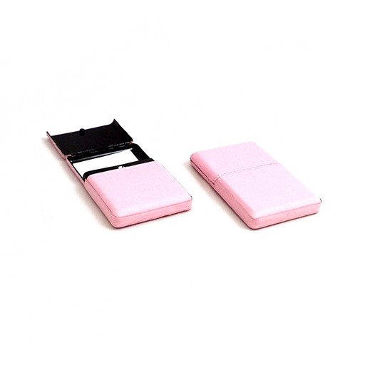 Business Card Case w/Flip Top Pink Leather