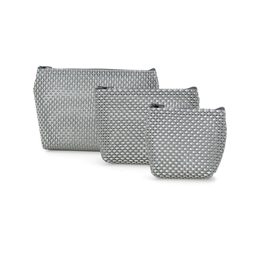Cosmetic Pouch Silver-Set of 3