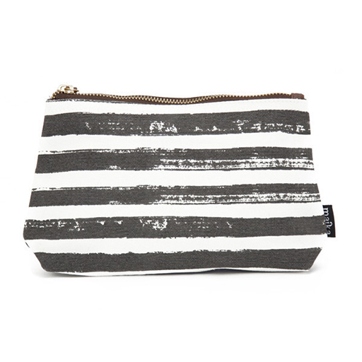 Stripes Charcoal Canvas Pouch, Large